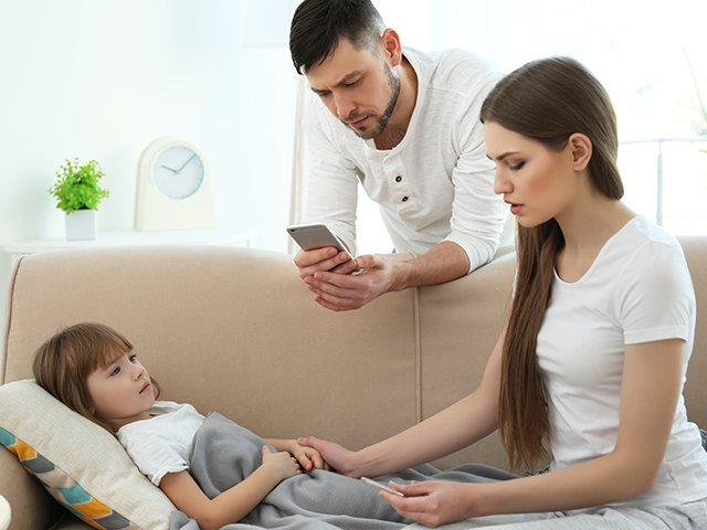 parents with sick child