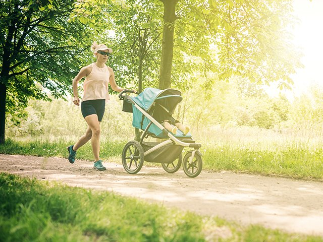 Military mom with jogging stroller
